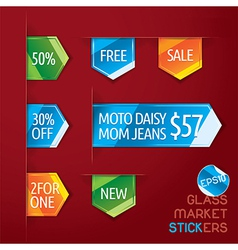 Glass Market Stickers vector image vector image