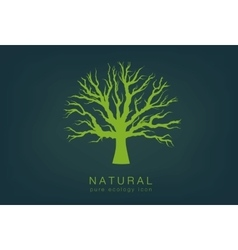icon with a dark background and a green tree vector image