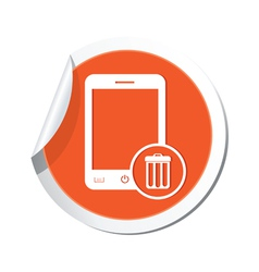 phone trashcan icon orange sticker vector image vector image