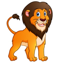 Adorable lion cartoon on white background vector