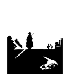 Black and white cowboy riding a horse in the vector image vector image