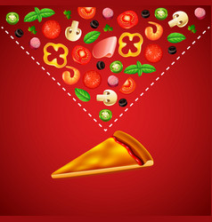 blank slice of pizza and ingredients on red vector image