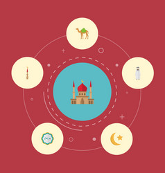 flat icons dromedary minaret decorative and vector image vector image