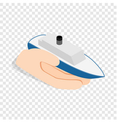 hand holds ship isometric icon vector image vector image