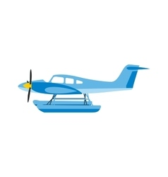 Light aircraft single propeller blue plane vector