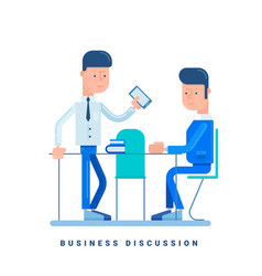 two businessmen discussing business concept for vector image