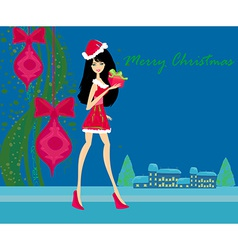 winter girl with gift box vector image