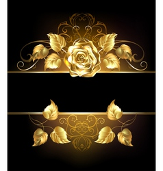 Banner with Golden Rose vector image