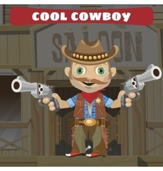 Cartoon character of Wild West - cool cowboy vector image