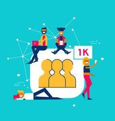 1k followers on social media network concept vector image