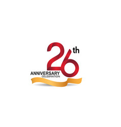 26 anniversary design logotype red color vector