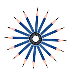 A circle formed of sharpened pencils on white vector