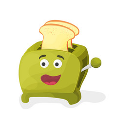 a green cartoon toaster on a white vector image