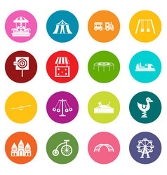 amusement park icons many colors set vector image
