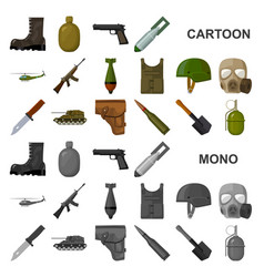 Army and armament cartoon icons in set collection vector