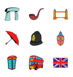 Britain icons set cartoon style vector