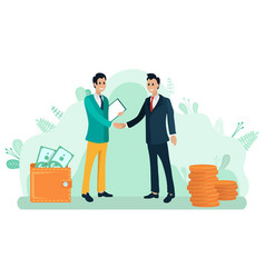 Businessmen shaking hands partnership vector