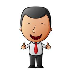 cartoon happy businessman making thumbs up sign vector image