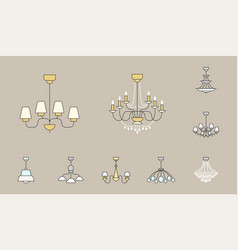 chandelier icons 02 vector image