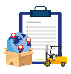 Checklist with lift truck vector