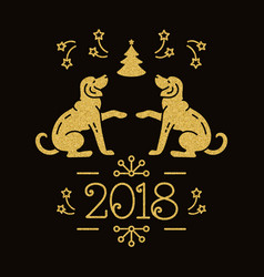 chinese zodiac year of the dog 2018 christmas vector image