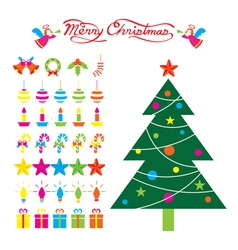 Christmas Tree and Decoration Objects vector