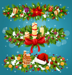 christmas tree and holly berry festive garland vector image