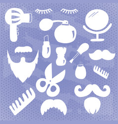 collection of white beauty and care icons vector image