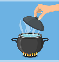 Cooking pot on stove with water and steam vector