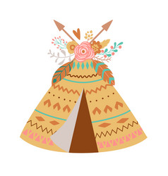 Cute boho teepee with floral bouquet feathes vector