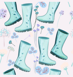 cute spring pattern with blue rubber boots flower vector image