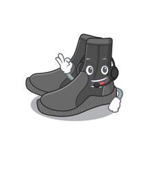 Dive booties caricature character concept wearing vector