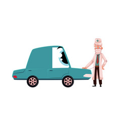 Doctor checking car character with stethoscope vector