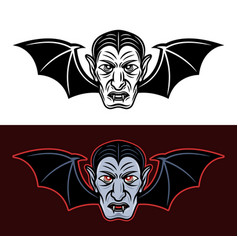 dracula vampire head with bat wings two styles vector image
