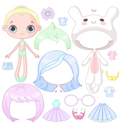 Dress up doll vector image