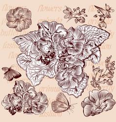 engraved flowers set for design vector image