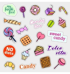 Fashion patch badges Candy set Stickers pins vector