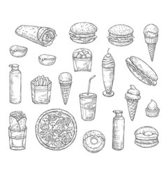fast food and drinks desserts sketch vector image