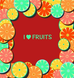 Flat-Frame with citrus vector