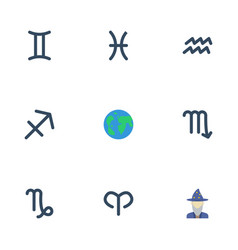 Flat icons ram water bearer earth planet and vector