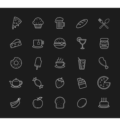 Food and drinks linear icons set Blackboard vector