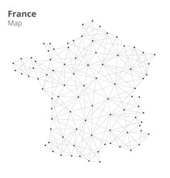 france map in blockchain technology network style vector image