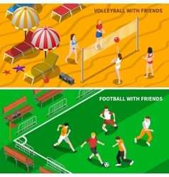Friends Sport 2 Isometric Banners Composition vector
