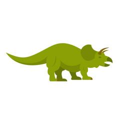 Green styracosaurus dinosaur icon isolated vector