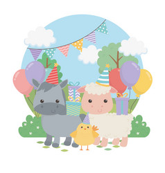 Group cute animals farm in birthday party scene vector