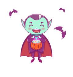 Halloween little vampire dracula boy kid vector