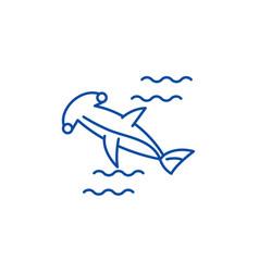 hammer fish line icon concept hammer fish flat vector image