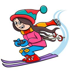 Happy girl character on ski cartoon vector