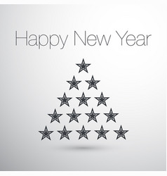 happy new year christmas tree stars concept vector image