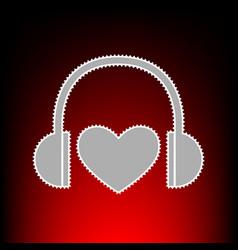 headphones with heart vector image vector image